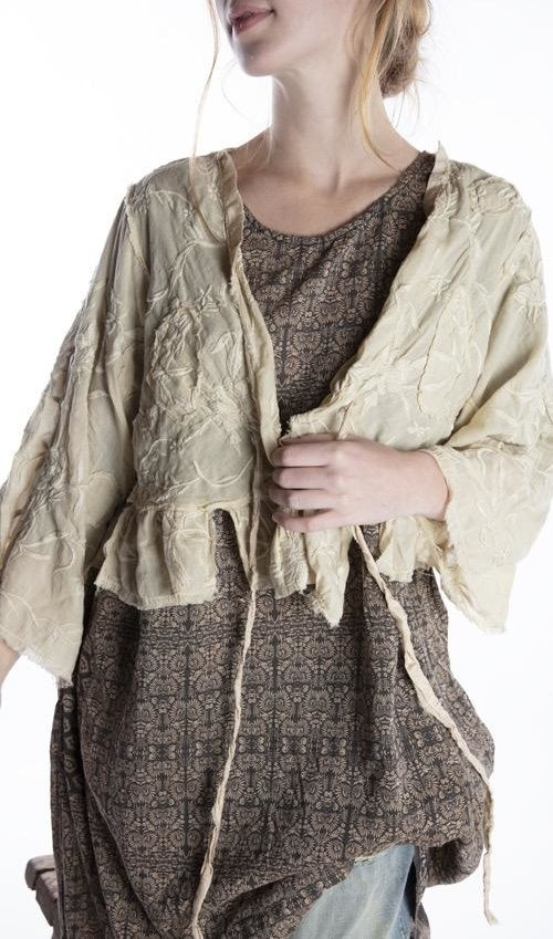 European Cotton Floral Embroidered Lise Lotte Piano Shawl Jacket with Silk Patches at Neck and Ties, Raw Edges, Magnolia Pearl