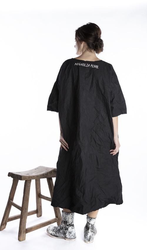 Cotton Poplin Wilde Artist Smock Dress with Raw Neck and Edges, Fading and Pockets, Magnolia Pearl