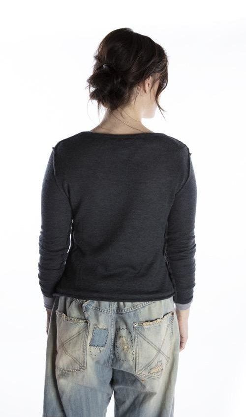 Handmade Cashmere VNeck Longsleeve Layering Top, Magnolia Pearl