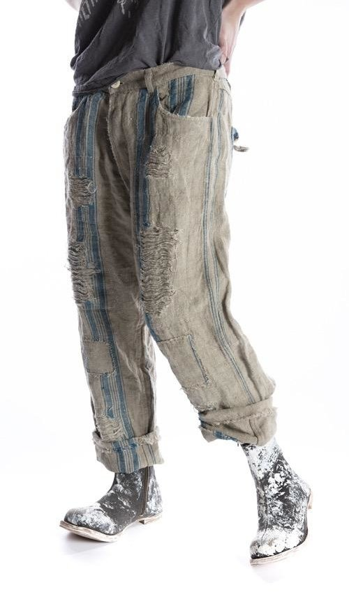 European Linen Miner Denims with Hand Aging, Patching, Distressing and Mending, Button Waist and Cinch Belt at Back, Magnolia Pearl