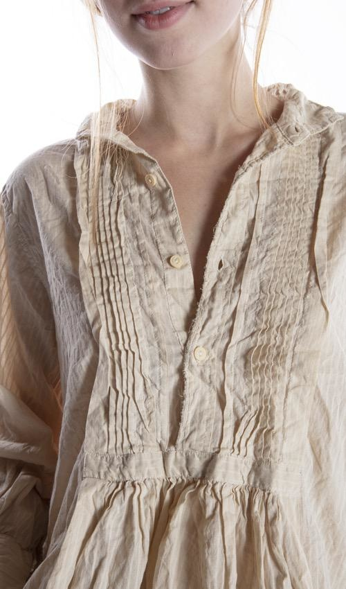 Striped Cotton Cordelia Night Shirt with Button Placket and Pintuck Bib, Magnolia Pearl