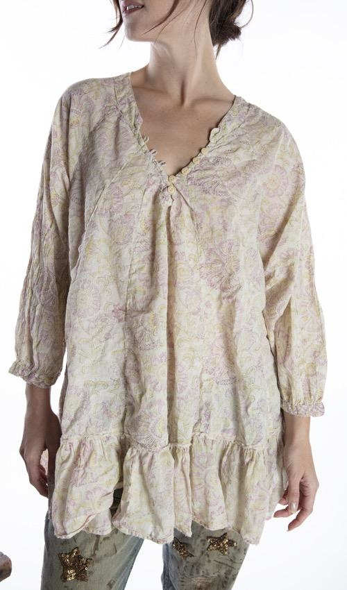 European Cotton Hand Block Print Naadja Blouse with Button Details at Neck and Raw Edges, Magnolia Pearl