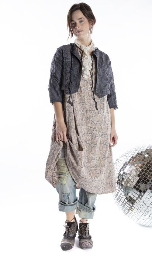 European Cotton Eathelyn Dress with Lace Details, Side Gathers and Button Front, Magnolia Pearl