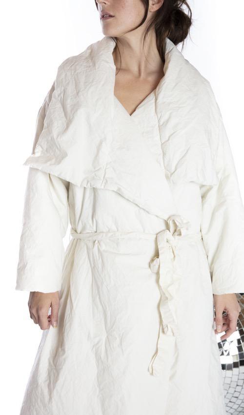 Cotton Poplin Telluride Duvet Coat with Waist Tie and Pockets, Magnolia Pearl