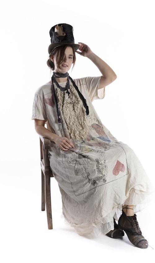 Cotton Jersey Queen Of Heart T Dress, Boyfriend Cut, Magnolia Pearl