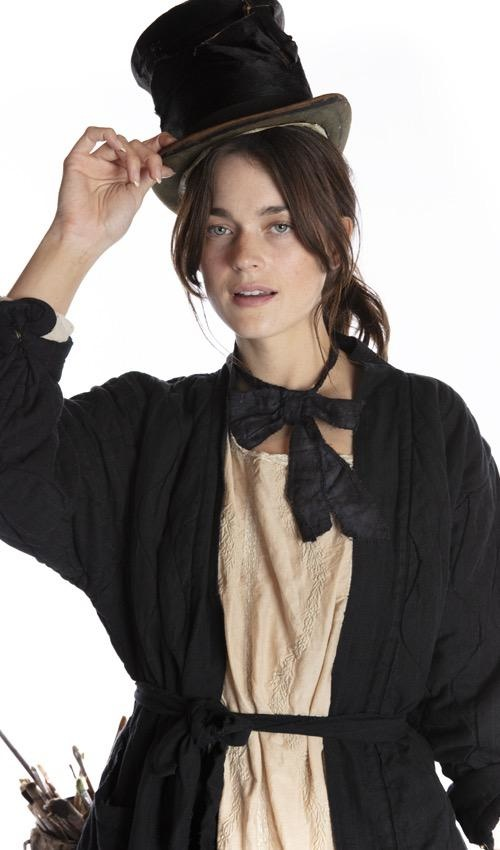 European Cotton Louis Bowtie with Distressing and Fading, Snap Closures, Magnolia Pearl