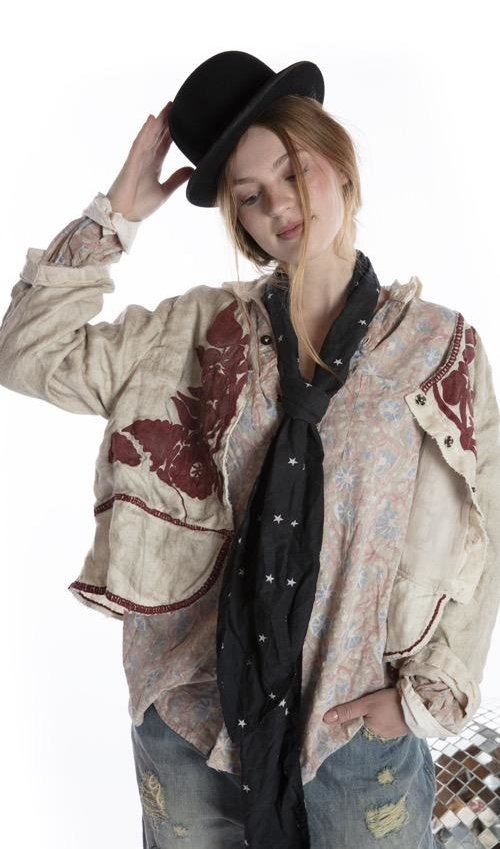 European Linen Juno Jacket with Embroidery, Hand Distressing and Antique Hooks at Front, Magnolia Pearl