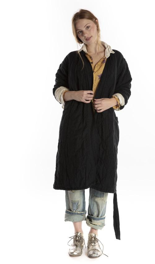 European Cotton Quilted Oro Coat with Hand Distressing and Belt Tie, Magnolia Pearl