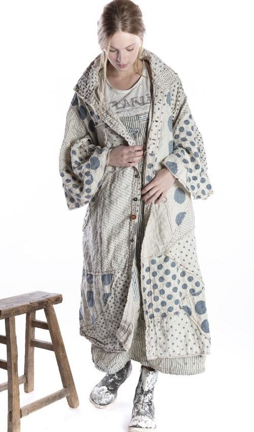 Quilted Linen Patchwork Sila Coat with Raw Edges, Hand Distressing, Mixed Buttons and Snaps, Magnolia Pearl