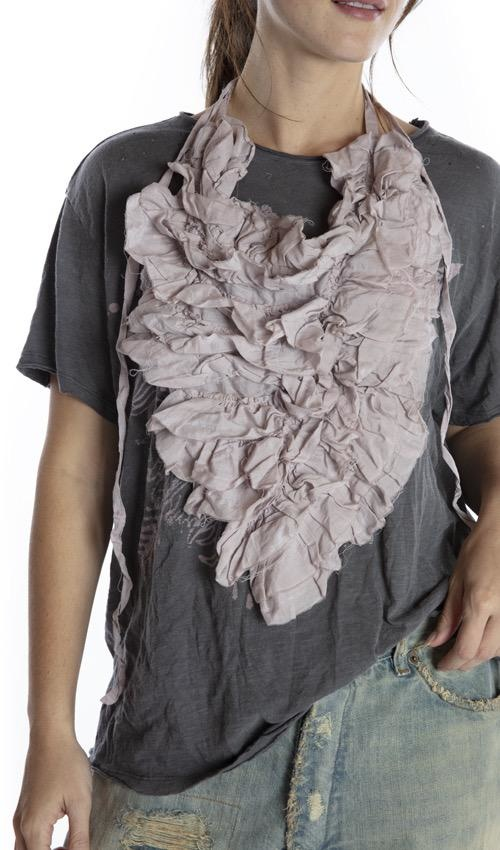 Cotton Silk Ruffle Movina Jabot with Ties, Raw Edges and Distressing, Magnolia Pearl