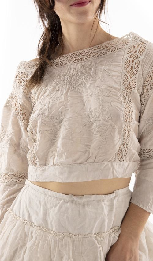 Cotton Silk Embroidered Devoney Top with Cotton Crochet Lace, Magnolia Pearl