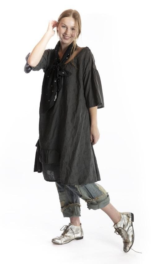 European Cotton Zomi Dress with Hand Embroidered Florals and Circles, Button at Shoulder, Ruffle