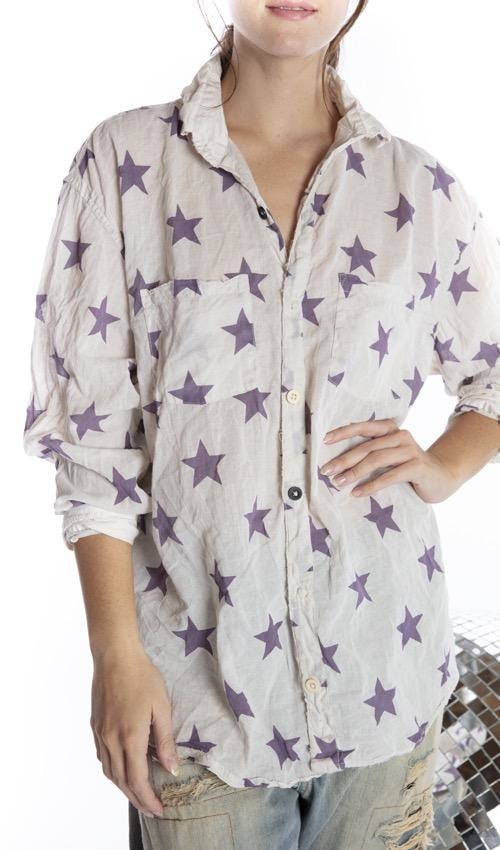 European Cotton Boyfriend Shirt with Poplin Collar, Hand Distressing and Mixed Buttons, Magnolia Pearl