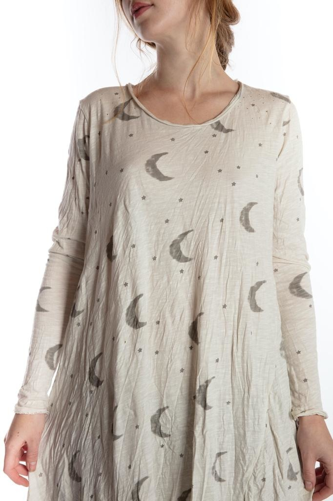 Cotton Jersey Crescent Moon and Stars Dylan T Dress, Magnolia PearlCotton Jersey Crescent Moon and Stars Dylan T Dress, Magnolia Pearl