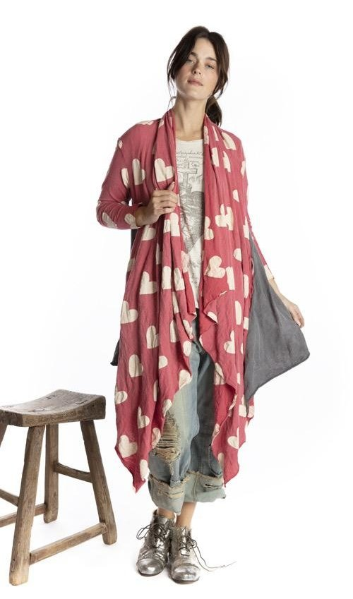 Cotton Jersey Karesa Cardigan with Pockets and Raw Edges, Magnolia Pearl