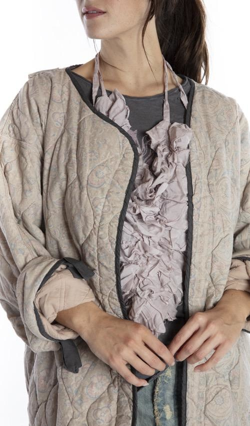 European Cotton Quilted Aleda Coat with Hand Distressing, Belt Tie and Printed Lining, Magnolia Pearl, Sebastopol, One Size