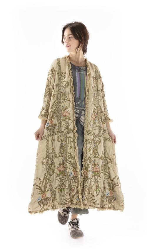 Modal Satin Embroidered OLeary Coat with Cotton Lace Placket, Distressing and Fading, Printed Lining, Magnolia Pearl