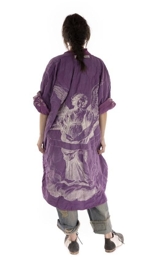 Cotton Silk Embroiderd Vijji Kimono with Quilting, Sunfading and Distressing, Printed Lining, Magnolia Pearl
