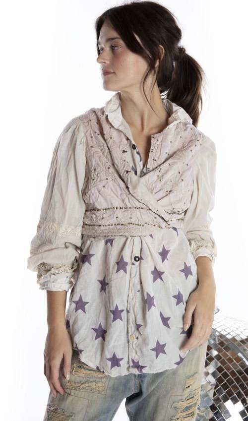 Cotton Silk Embroidered Penella Cropped Layering Jacket with Sequin Details, Tattered Lace, Antique Hooks and Printed Lining, Magnolia Pearl