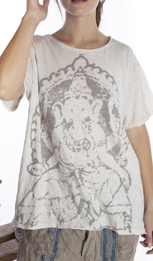 Cotton Jersey Ganesha T, Boyfriend Cut, Magnolia Pearl
