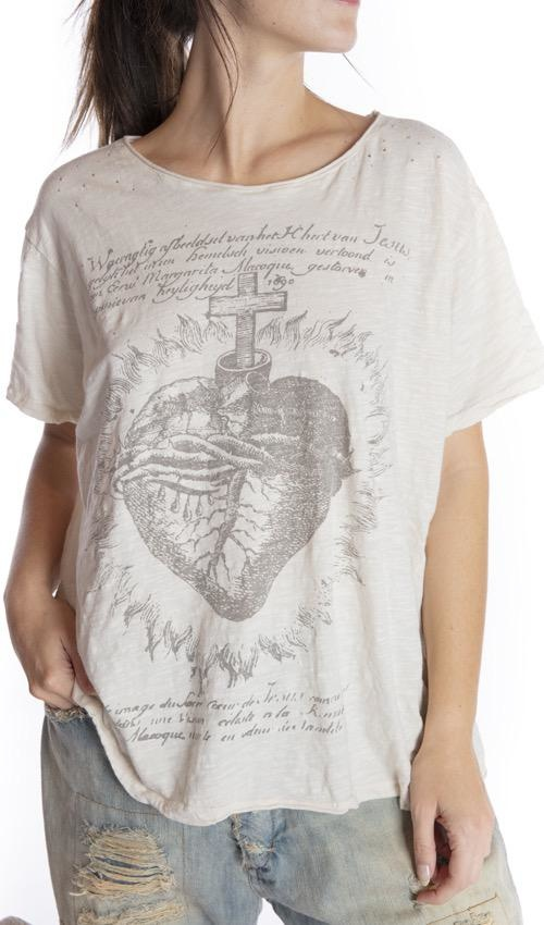 Cotton Jersey Faithful Heart T, Boyfriend Cut, Magnolia Pearl