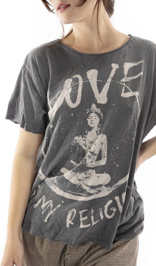 Cotton Jersey Love Religion T, Boyfriend Cut, Magnolia Pearl