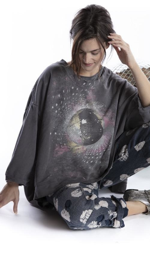 Cotton Knit Oversized Hi Lo Disco Ora Francis Pullover with Distressing and Fading, Magnolia Pearl