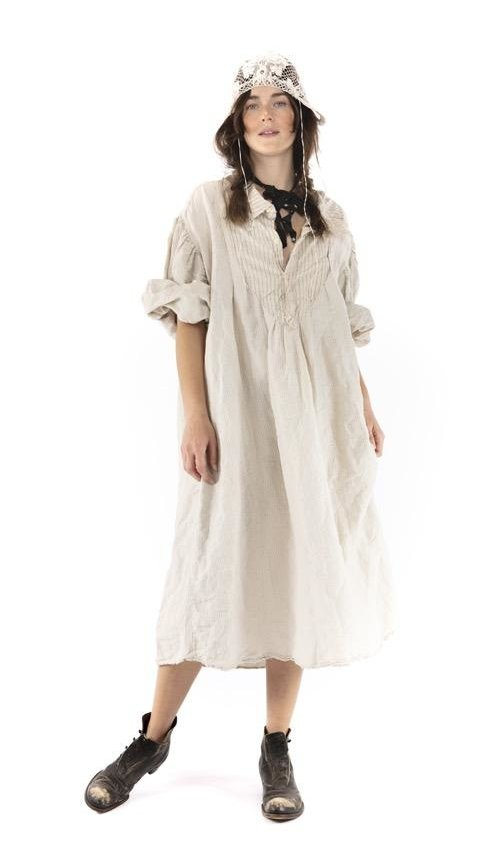 Cotton Viscose Tora Shirt Dress with Distressing, Fading, Button Placket at Neckline, Magnolia Pearl