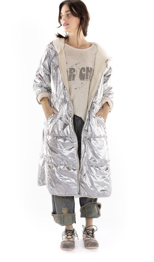 Polyester Puff Pheriby Jacket with Hood and Zipper Front, Pockets, Magnolia Pearl