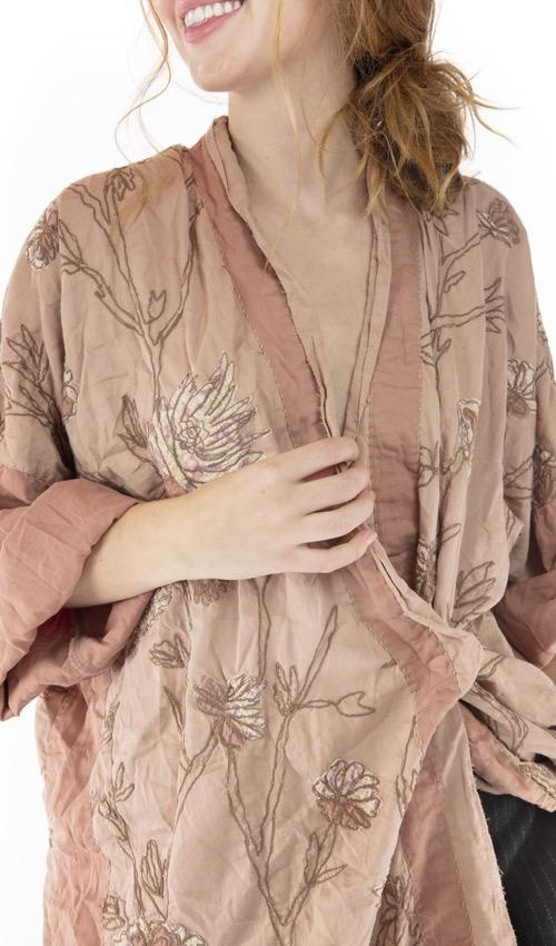 Cotton Satin Embroidered Lilikoi Kimono with Fading and Distressing, Magnolia PearlCotton Satin Embroidered Lilikoi Kimono with Fading and Distressing, Magnolia Pearl