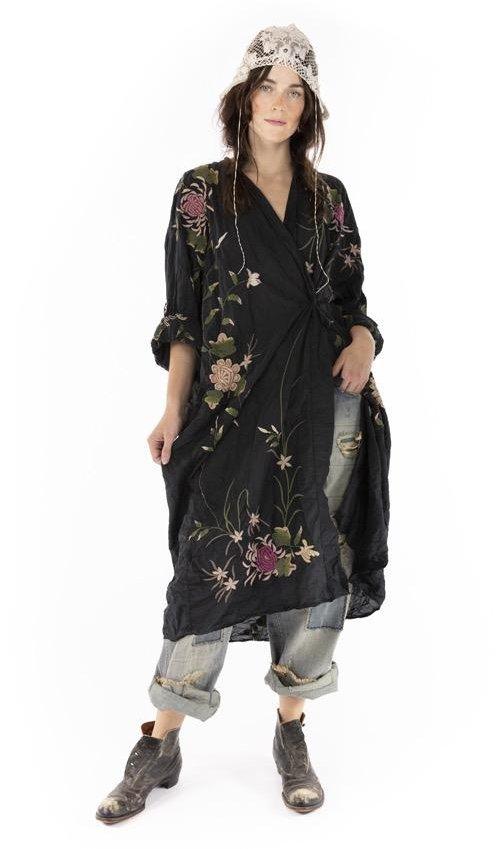 Cotton Silk Embroidered Bonita Kimono with Fading and Hand Distressing, Magnolia Pearl