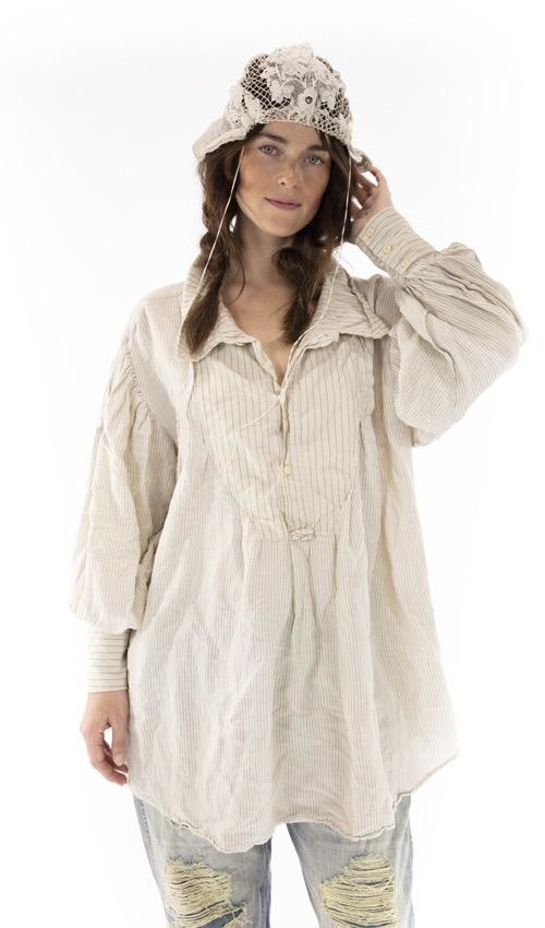 European Cotton Tora Shirt with Fading and Distressing, Button Placket at Neckline, Magnolia Pearl