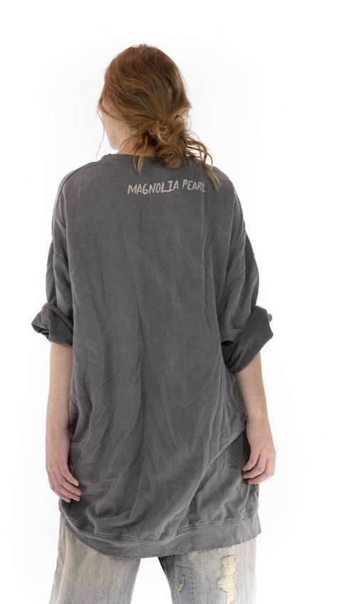 Cotton Jersey Oversized Baja Surf Francis Pullover with Distressing and Fading, Magnolia Pearl