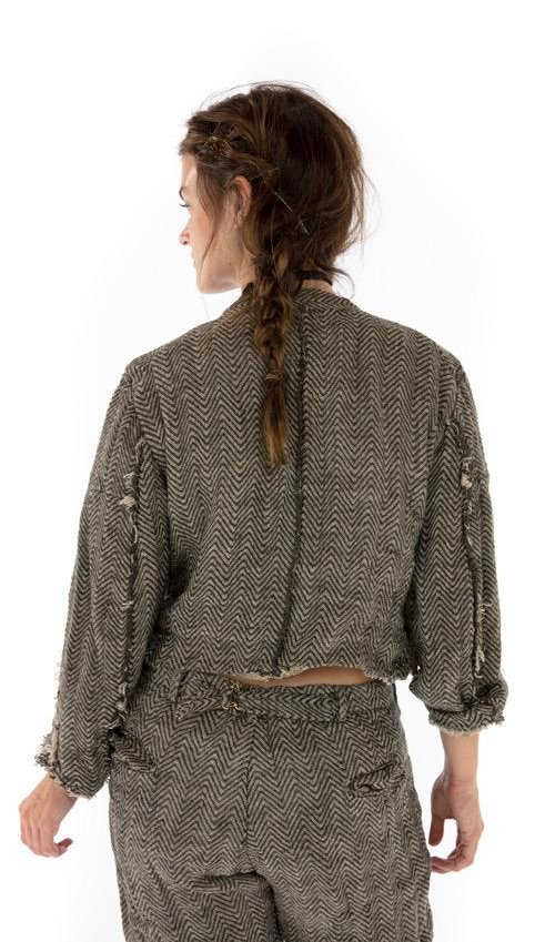Woven Cotton Cropped Declan Jacket with Raw Edges, Hand Distressing, Double Brested Mixed Button Front. Magnolia PearlWoven Cotton Cropped Declan Jacket with Raw Edges, Hand Distressing, Double Brested Mixed Button Front. Magnolia Pearl