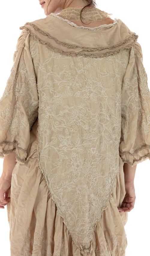 Cotton Silk Embroidered Emmali Kimono with Scalloped Edges and Cotton Lace Details, Magnolia Pearl