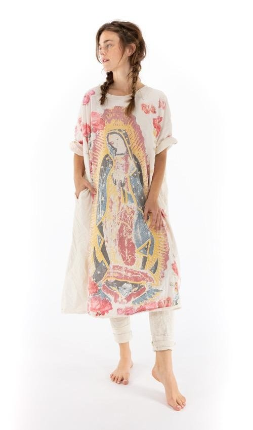 Cotton Poplin Amor Artist Smock Dress with Raw Neck and Edges, Fading and Pockets, Magnolia Pearl