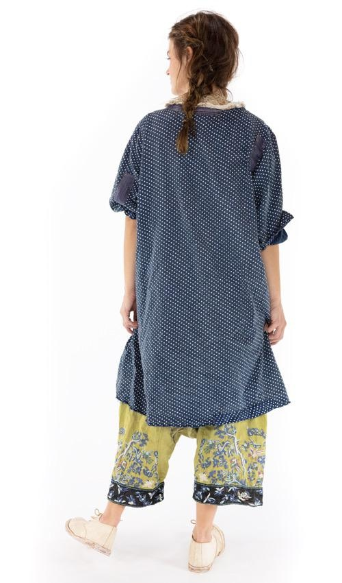 Cotton Satin Tuvia Smock Dress with Patching, Fading, Distressing, Mixed Buttons Down Front. Magnolia Pearl