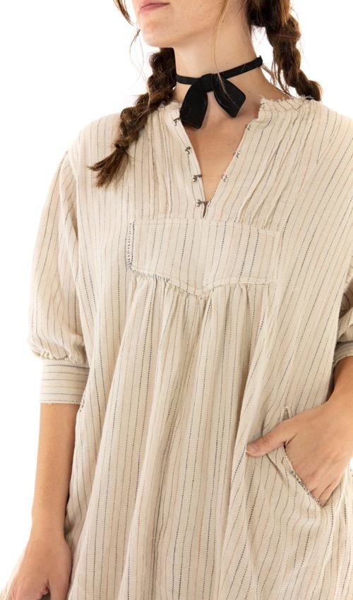 Woven Cotton Bibby Dress with Pleated Neck Placket, Hand Distressing and Fading, Magnolia Pearl
