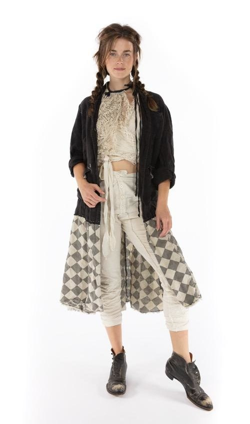Cotton Linen Tristan Jacket with Hand Stitching, Distressing, Patching, Fading, Raw Edges and Mixed Buttons, Printed Lining, Magnolia Pearl