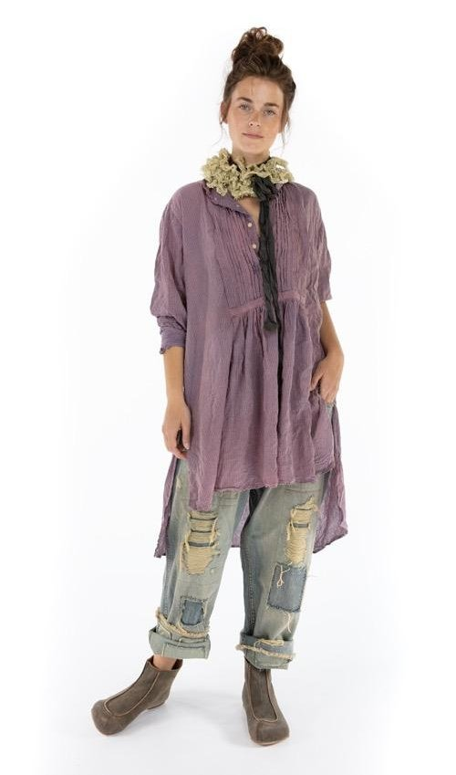 Cotton Cordelia Night Shirt with Button Placket and Pintuck Bib, Magnolia Pearl