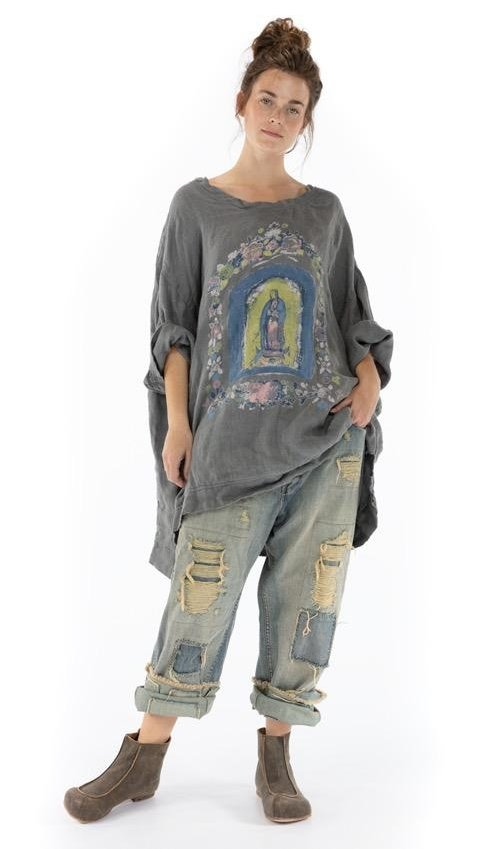 Oversized Quilted French Linen Mary Nicho Francis Pullover with Fading and Hand Distressing, Magnolia Pearl