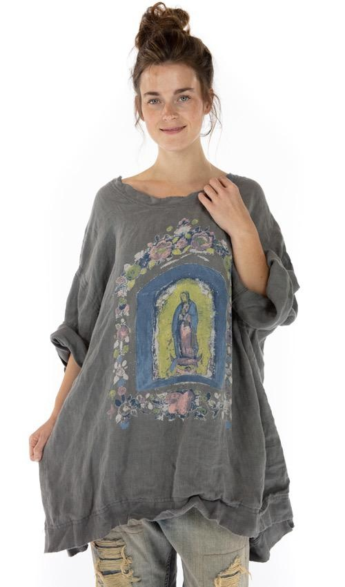 Oversized French Linen Mary Nicho Francis Pullover with Fading and Hand Distressing, Magnolia Pearl