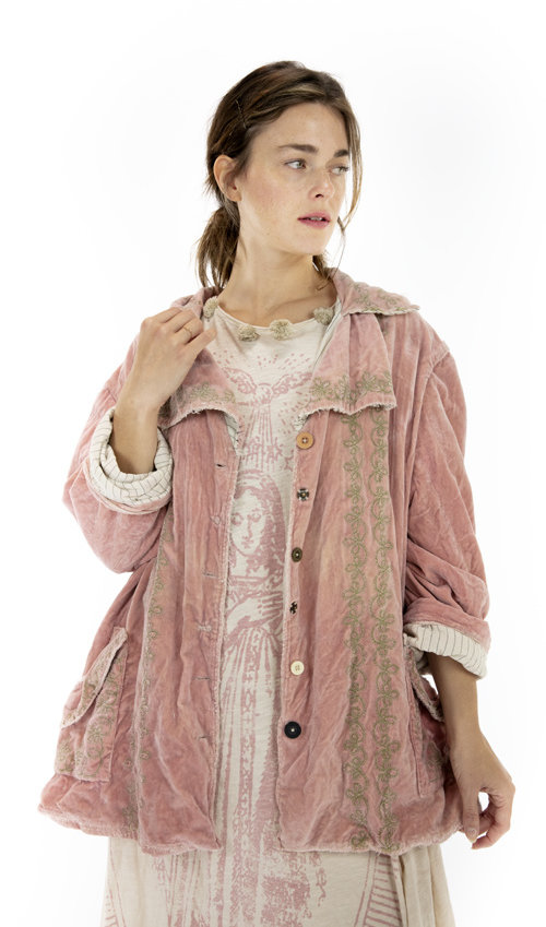 Cotton Velvet Rosalie Jacket with Embroidery, Hand Distressing and Fading, Mixed Buttons, Magnolia Pearl