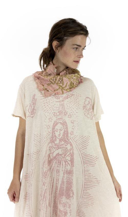 Cotton Jersey Mary of Prosperity T Dress, Boyfriend Cut, Magnolia Pearl