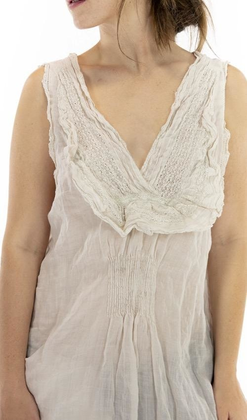 Linen Ramie Luz Lace Collar Slip Dress with Pintucks, Magnolia Pearl, Moonlight, One Size