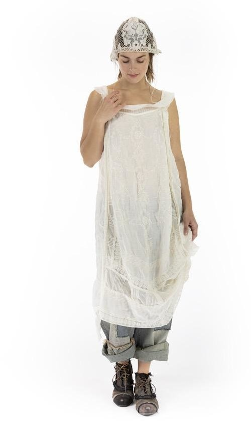 Linen Ramie Anna Cecilie Embroidered Slip with Tulle Details at Neck, Lace Insets and Handkerchief Hem, Magnolia Pearl