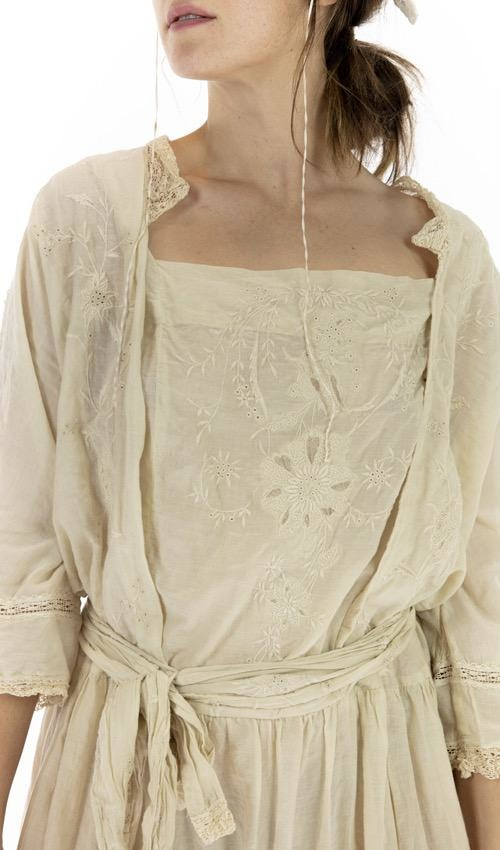 Cotton Silk Full Bloom Garden Dress with Embroidery, Tattered Lace and Embroidered Tie, Magnolia Pearl