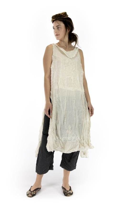 Linen Ramie Embroidered Halsey Dress with Cotton Lace Details, Pintucks and Side Openings, Magnolia Pearl