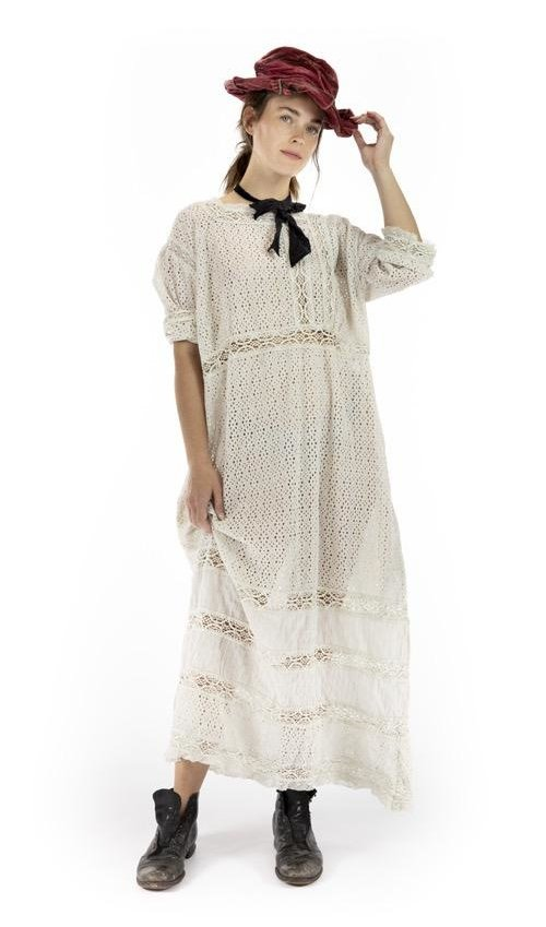 European Cotton All Eyelet Billie Ann Dress with Crochet and Cotton Lace Details, Snaps at Back, Magnolia Pearl