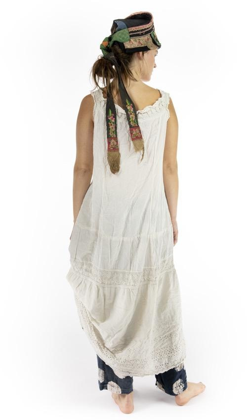 European Cotton Sofia Grace Eyelet Slip with Cotton Lace Details and Tie at Neck, Magnolia Pearl